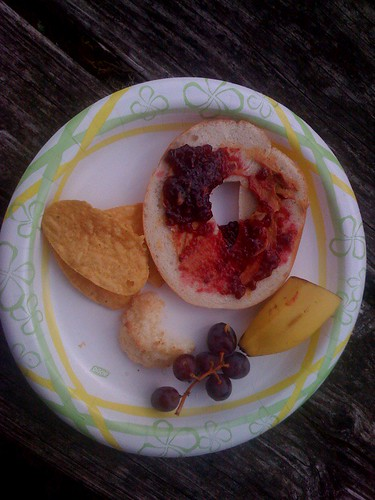 Lunch. Bagel with peanut butter and jam. And Macaroons...good gosh, Macaroons....