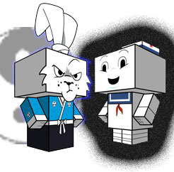 Usagi Yojimbo & Mr.Stay-Puft  papercraft model figures [[ Courtesy of CUBEECRAFT ]]