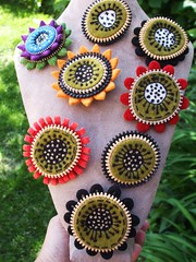 Lots of new brooches!! (woolly  fabulous) Tags: wool felted pin brooch felt zipper corsage embroidered