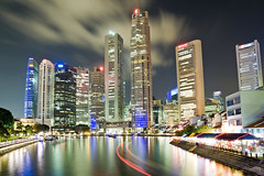 Singapore CBD and Boat Quay in Motion (Anthony White (in Singapore)) Tags: longexposure motion night clouds singapore asia dusk motionblur lighttrails touristattraction boatquay singaporeriver bankofchina southbridgeroad oubcentre uobtower bluelist superaplus aplusphoto anthonywhite ocbccentre singaporelandtower