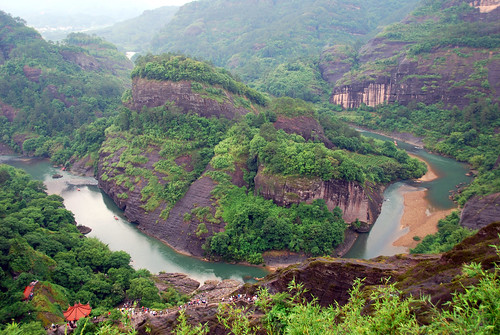 view of bamboo rafting area from wuyi mountain