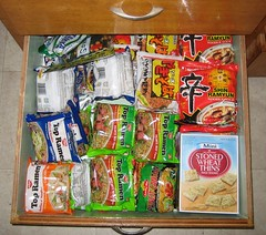 A drawer packed with Top Ramen.