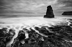 Davenport Sea Stack (Jim Patterson Photography) Tags: ocean california longexposure sea sky blackandwhite santacruz seascape beach clouds sunrise landscape coast waves pacific shoreline highway1 coastal shore coastline lowtide bluffs davenport hwy1 pacificcoasthighway nikkor1224mm nikond300 jimpattersonphotography jimpattersonphotographycom seatosummitworkshops seatosummitworkshopscom
