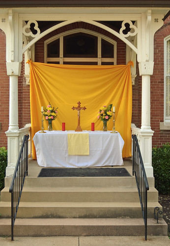 Corpus Christi Procession at Sacred Heart Roman Catholic Church, in Florissant, Missouri, USA - processional altar