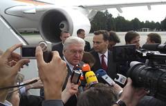 Polish and German foreign ministers in Kiev 04 (PolandMFA) Tags: airport poland polska journalist minister okęcie lotnisko steinmeier dziennikarz radosławsikorski