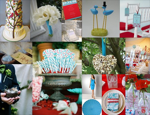 Mood Board Red and Aqua