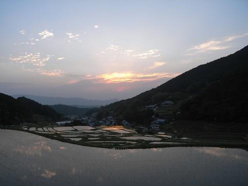 棚田の夕陽@明日香村-12