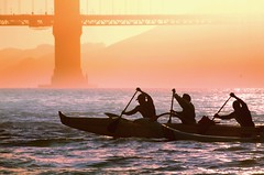 The Canoe Riders Ride Again (gcquinn) Tags: ocean sf sanfrancisco california bridge sunset usa beach water fog night clouds golden bay gate geoff wildlife bolinas goldengatebridge goldengate bayarea quinn pointreyes geoffrey peninsula paddling warcanoe outriggercanoe hotstuf aplusphoto flickrdiamond saariysqualitypictures