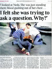 """The Times"" front page 26.6.09 (Anima Fotografie) Tags: green freedom newspaper election iran doctor murder why iranian martyr tehran neda thetimes ahmadinejad basij basiji nedasoltani nedasoltan nedaaghasoltan arashhejazi drarashhejazi"