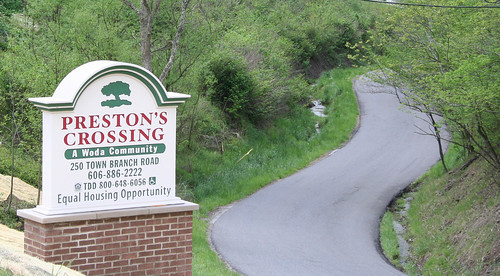 Preston's Crossing signage. The complex was funded in part by USDA Rural Development.