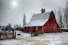 Red Barn on a Foggy Morning - HDR (James Neeley) Tags: winter fog barn landscape searchthebest idaho hdr idahofalls ammon 5xp mywinners flickr10 jamesneeley great123 eisf2009
