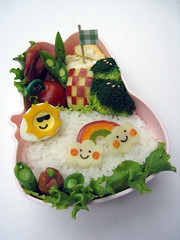 Bento 02/26/09 Sunshine + Rainbow ( sheree) Tags: cloud sun lunch rainbow bento lunchbox foodart obento charaben kyaraben characterbento sunwithsunglasses checkerapple