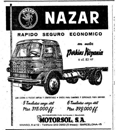 Publicitat camió Nazar a LA VANGUARDIA el 27 d'agost de 1961