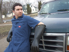 Jeff the WickedCool Trashman 09 (bdahernphoto) Tags: jeff trash truck gloves rubberboots coverall garbageman