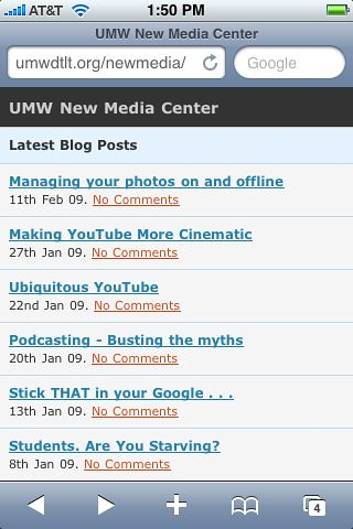 MobilePress view of UMW NMC
