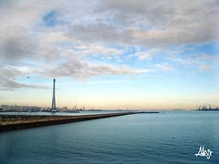 Cadiz desde el Puente Carranza (Alberto Jiménez Rey) Tags: blue sea sky azul puente mar cybershot alberto cielo nubes cadiz rey nublado carranza astilleros celeste jimenez dsct200 albjr