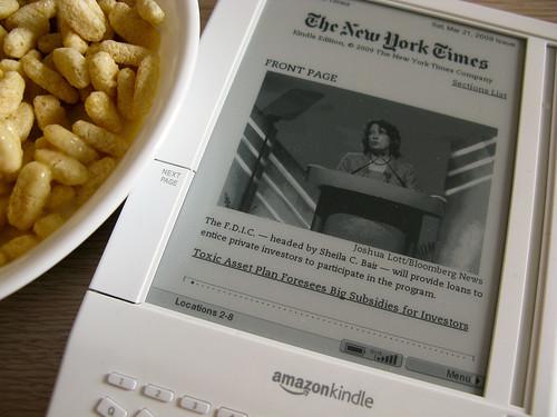 Jumbo multi-wheat Krispies + New York Times on the Kindle