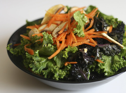 Raw Kale Salad with Carrots and Mushrooms