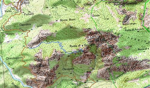 Carte du massif de la Spusata entre Murzu et Muna