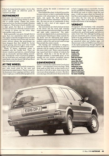 Toyota Corolla 4WD 16v Estate Test 1988 7 by Trigger's Retro Road  Tests!.
