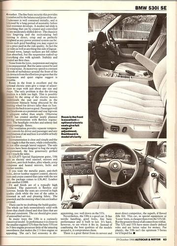 Bmw 530i Se. BMW 530i SE Road Test 1988 4