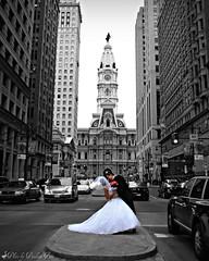 Love in the City ~ (GooseGoddessS) Tags: city wedding love philadelphia kiss couple traffic pennsylvania cityhall marriage romance embrace broadstreet selectivecolor preludetoakiss challengeyouwinner goosegoddesss anawesomeshot paulinabos
