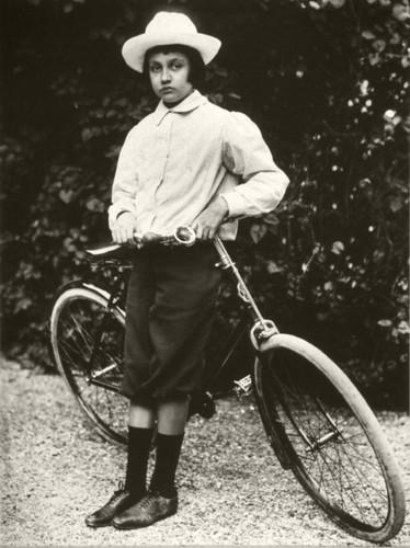 Jacques avec sa bicyclette achetée par son père en 1899. by Le Château d'Eau, Toulouse.