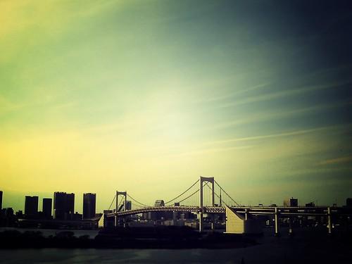 tokyo bay under warm sky