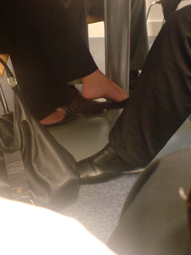 Candid shoeplay feet and legs in black nylons 8