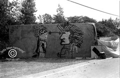 Kahnawake graffiti 1990 (DawnOne) Tags: bridge golf army island dawn graffiti photo community quebec native indian centre  reserve first ground canadian gas course linda american 09 sacred burial mohawk guns tear aboriginal hammond invasion crisis 1990 nations weapons tanks oka ak47 standoff kanehsatake kahnawake wapons indyfotocom kahnewake teargassing