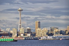 seattle skyline during one sunny evening... ( merly ) Tags: seattle blue sunset red sky mountain lake abstract green ferry skyline clouds buildings landscape spring nikon afternoon gray tube 300mm alkibeach wa spaceneedle barge nanay pacificsciencecenter greysanatomy d90 merly olympiciliadsculpture merlym