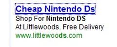 Littlewoods PPC ad