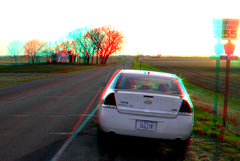 3D-04-21-09-0060a sunsetting (jimf0390) Tags: road sunset sun tree car sign southdakota rural stereoscopic stereophoto 3d spring artistic rustic scenic anaglyph vehicle jefferson redcyan 3dimages 3dphoto 3dphotos 3dpictures jeffersonsd