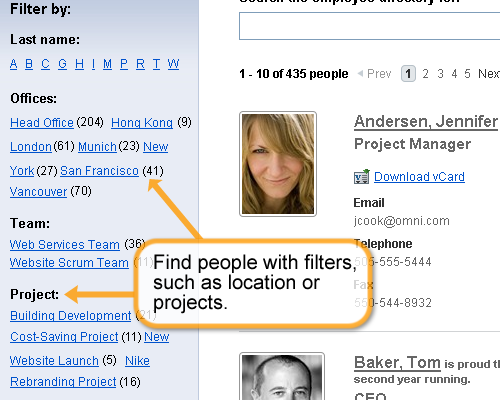 Find people with filters, such as location or projects.