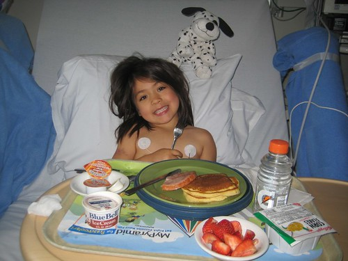 In fact, Serene had such a good time at Childrens that she didnt even want to come home.  Afterwards, she told me that the hospital was her favorite favoritist place ever.  Notice, she even has icecream for breakfast.  You can rest assured that will be the last time she gets that for a long while.