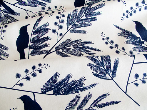 ink and spindle bird fabric