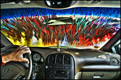 car wash (Dan Anderson (dead camera, RIP)) Tags: colors car driving ultimate fudge carwash wash dashboard caravan minivan doge dananderson awardtree