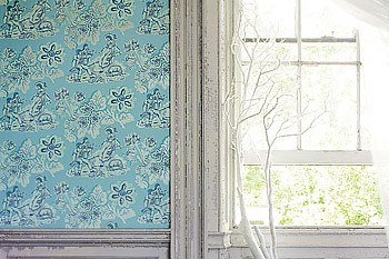 Lovely blue toile wallpaper by Anna French