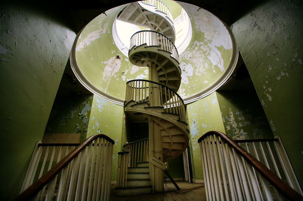 spiral staircase at the abandoned Western State Hospital