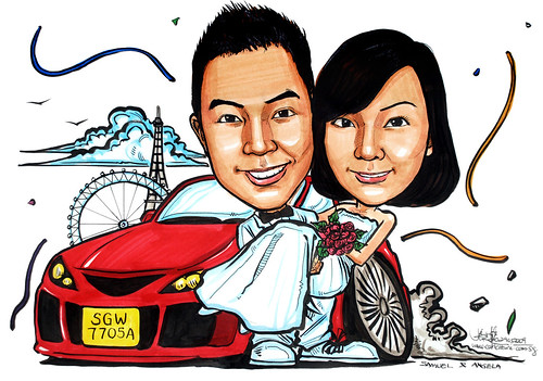 Couple wedding caricatures Mazda 3 London Eye Eiffel Tower