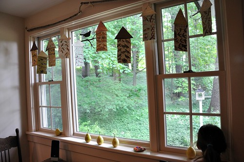 "Hanging ""bird"" houses window treatment"
