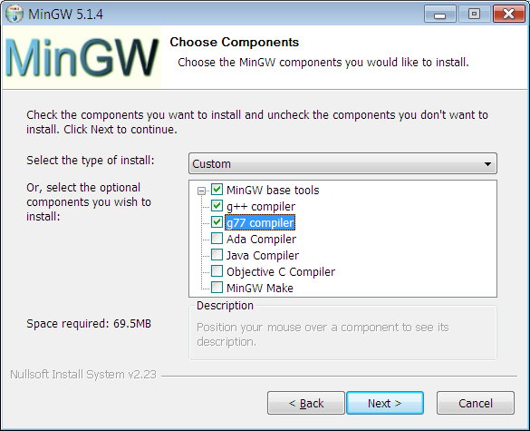 Select the MinGW components to install