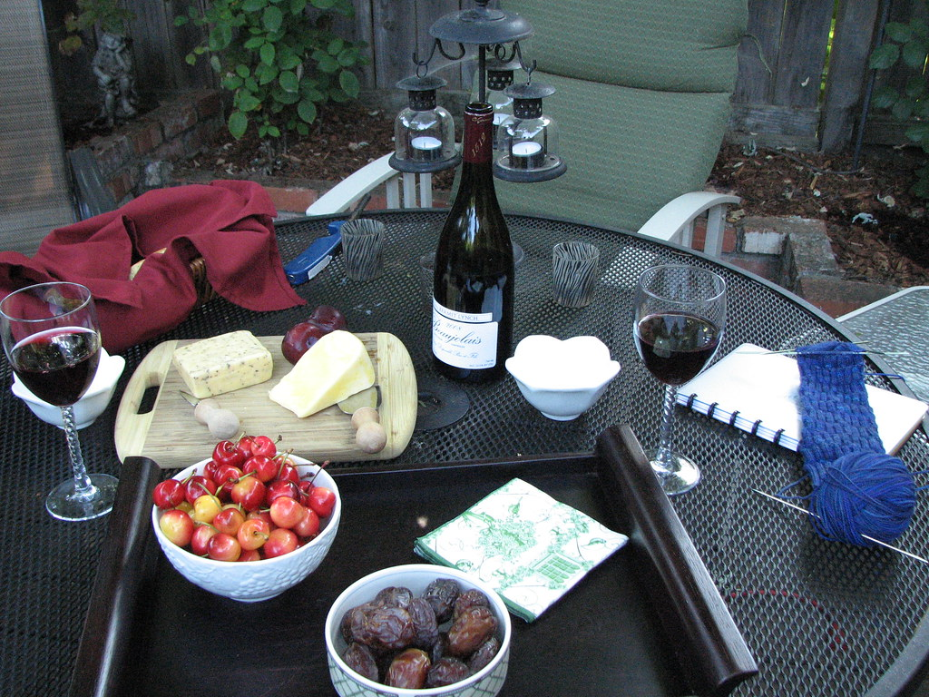 Wine, fruit and cheese with sock