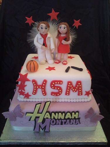 hsm & hannah montana cake