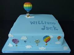 Will's Christening Cake .... (abbietabbie) Tags: blue sky white rabbit cake clouds explore icing christening hotairballoon marzipan ballons fondant blueribbonwinner richfruit