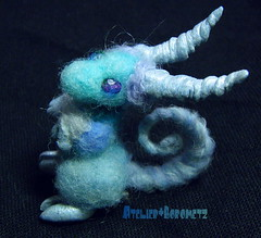 Dragon Puppy:Heaven (borometz) Tags: blue color art wool monster toy dragon craft felt plush fantasy needlefelting legend mythology myth handcraft  needlefelted     atelierborometz