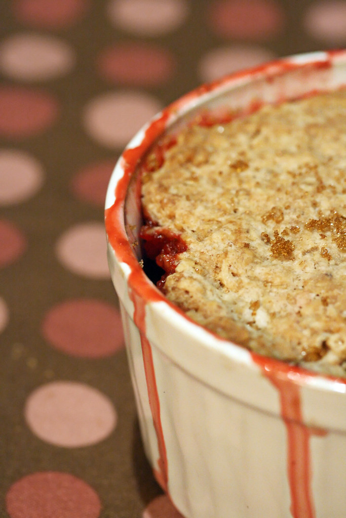 Strawberry-Rhubarb Crisp with Oatmeal Biscuit Crust