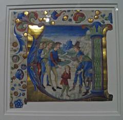 initial V with Joseph sold by His Brothers by Giovanni Pietro da Cemmo (peterjr1961) Tags: nyc newyorkcity newyork art museum medieval themet metropolitanmuseumofart medievalart