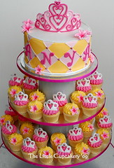 Princess Cupcake Tower for Anya! (TheLittleCupcakery) Tags: birthday pink tiara yellow cake purple princess little blossom mini crown anya tlc fondant cupcakery xirj klairescupcakes