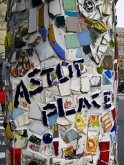 Astor Place Mosaic (johnwilliamsphd) Tags: nyc newyorkcity copyright eastvillage newyork john williams mosaic c lamppost astorplace lightpole jimpower  williams john johncwilliams johnwilliamsphd phd